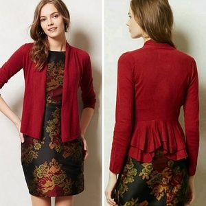 Angel of the North Red Ruffled Back Open Cardigan